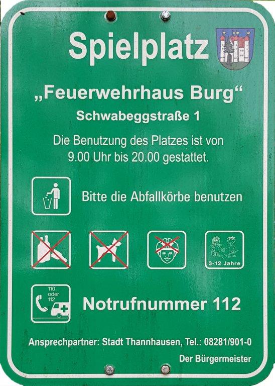 Spielplatz Info Feuerwehr Burg